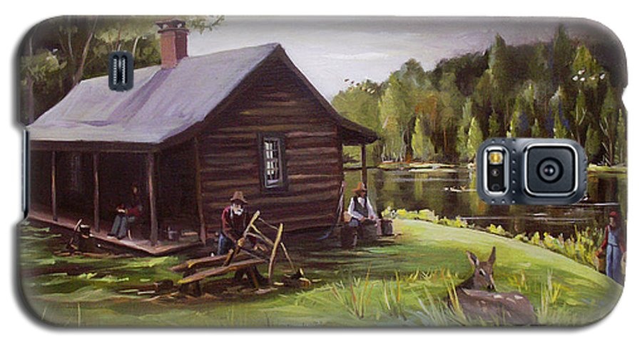 Log Cabin By The Lake Galaxy S5 Case featuring the painting Log Cabin By The Lake by Nancy Griswold