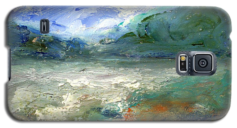 Lake Galaxy S5 Case featuring the painting Lombard Lake by Mario Zampedroni