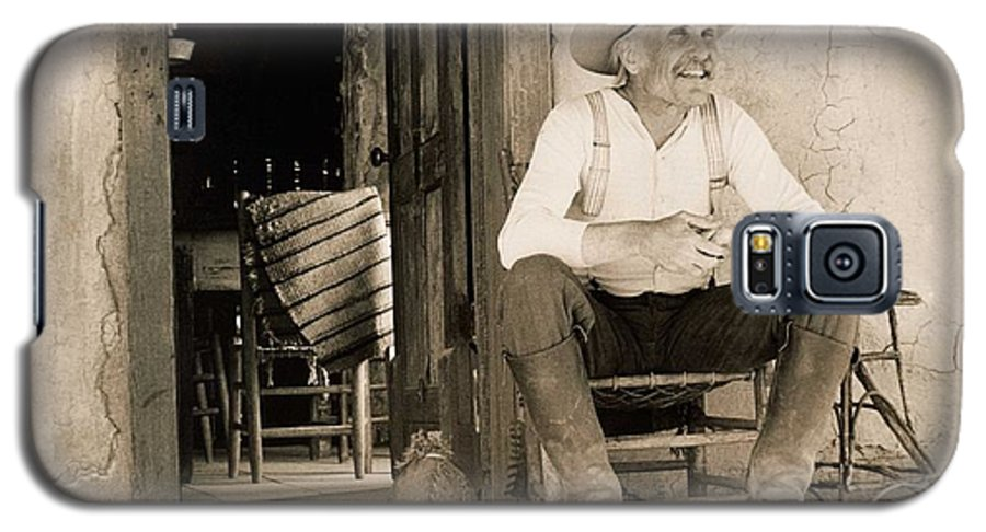 Old West Poster Galaxy S5 Case featuring the photograph Lonesome Dove Gus On Porch by Peter Nowell
