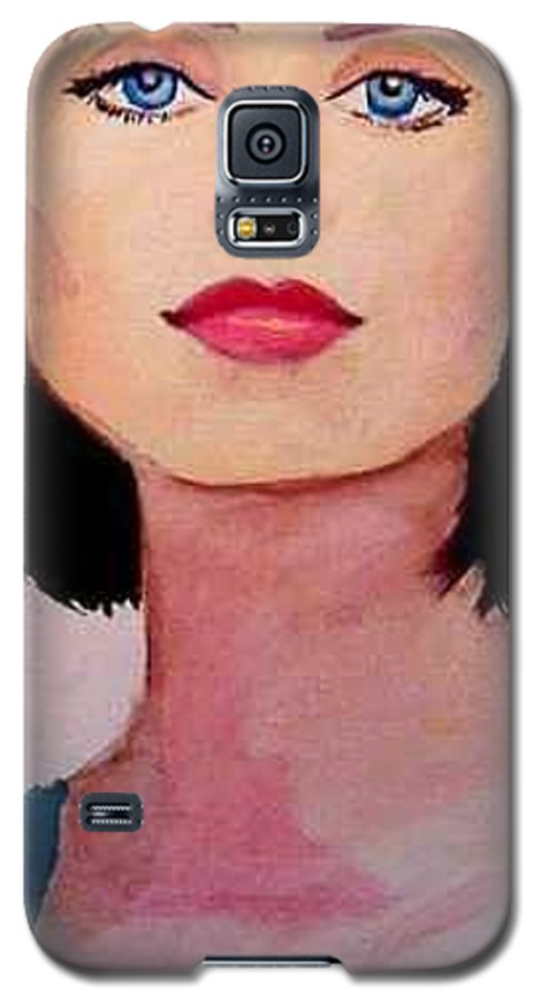 Sexy Lady Galaxy S5 Case featuring the painting Look by Laura Rispoli