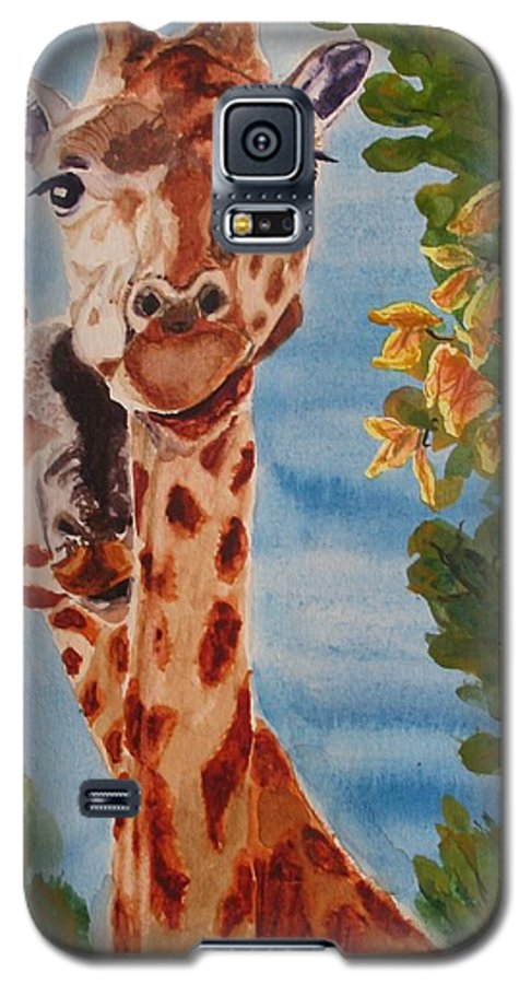 Giraffes Galaxy S5 Case featuring the painting Lookin Back by Karen Ilari