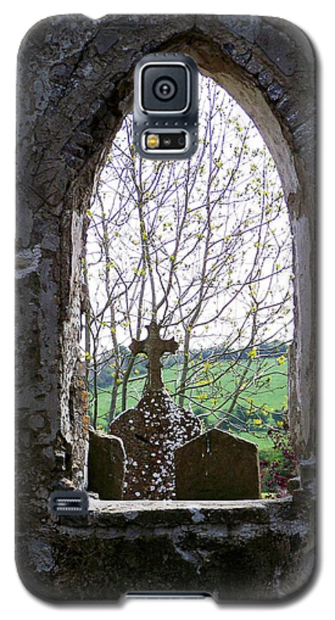 Ireland Galaxy S5 Case featuring the photograph Looking Out Fuerty Church Roscommon Ireland by Teresa Mucha