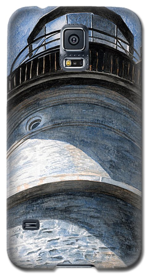 Lighthouse Galaxy S5 Case featuring the painting Looking Up Portland Head Light by Dominic White