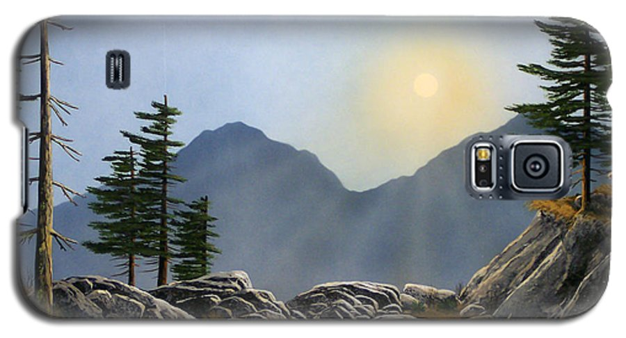 Landscape Galaxy S5 Case featuring the painting Lookout Rock by Frank Wilson