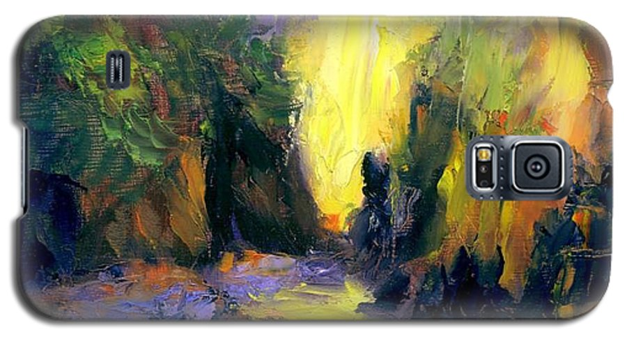 Landscape Galaxy S5 Case featuring the painting Lost Creek by Gail Kirtz