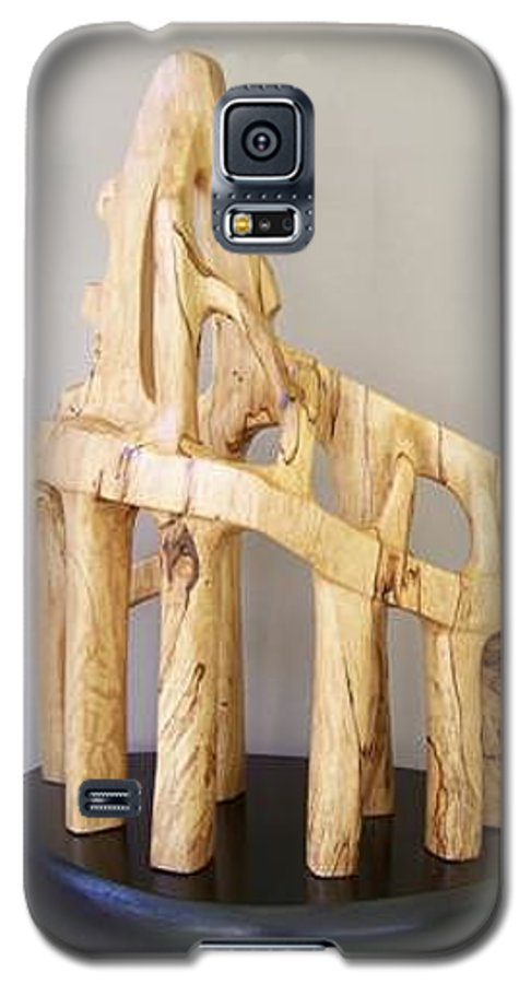 Wood-carving-sculpture-abstract- Galaxy S5 Case featuring the sculpture Lost Glory by Norbert Bauwens