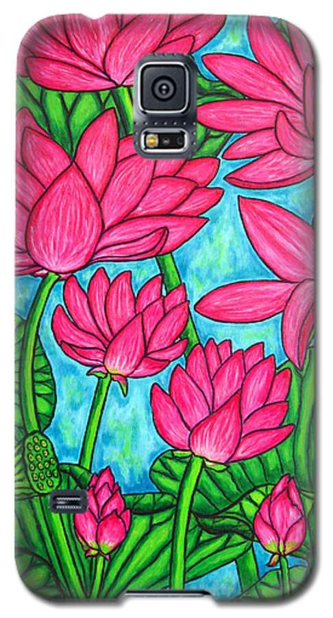 Galaxy S5 Case featuring the painting Lotus Bliss by Lisa Lorenz
