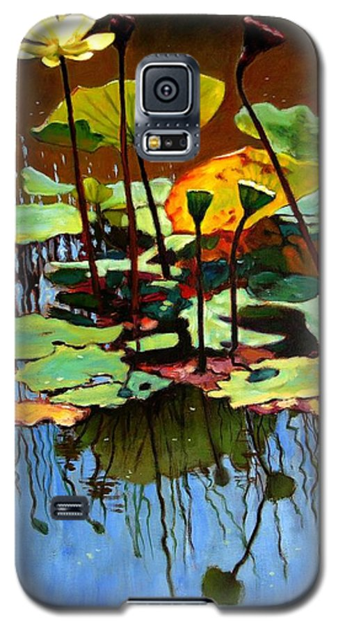 Lotus Flower Galaxy S5 Case featuring the painting Lotus In July by John Lautermilch