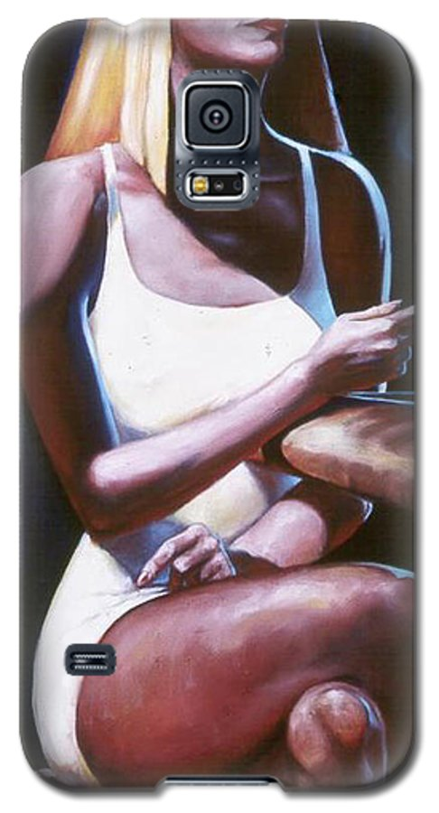 Figure Galaxy S5 Case featuring the painting Lounge Lizard's Eye View by T Ezell