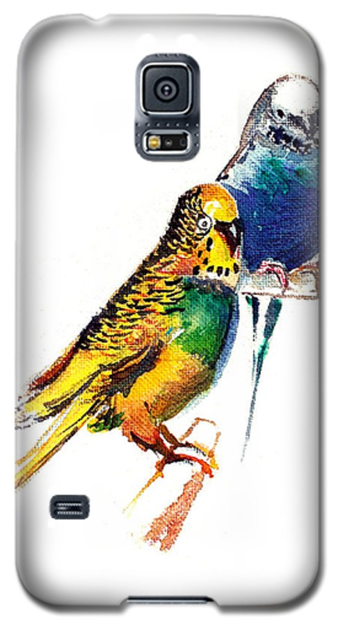 Nature Galaxy S5 Case featuring the painting Love Birds by Anil Nene