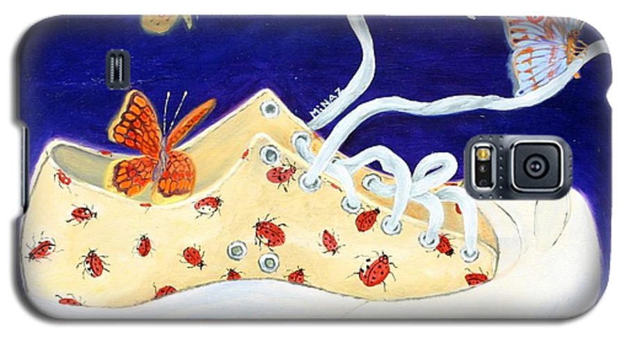 Running Shoes Galaxy S5 Case featuring the painting Lucky Lady Bug Shoe by Minaz Jantz