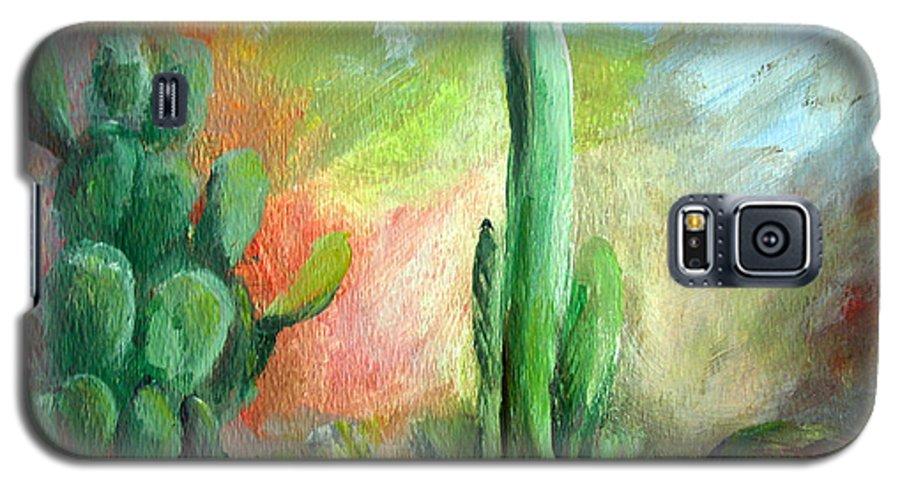 Floral Painting Galaxy S5 Case featuring the painting Lumiere De Desert by Muriel Dolemieux