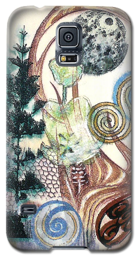 Abstract Galaxy S5 Case featuring the painting Luna 1 by Valerie Meotti