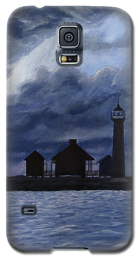 Landscape Galaxy S5 Case featuring the painting Lydia Ann Lighthouse by Adam Johnson