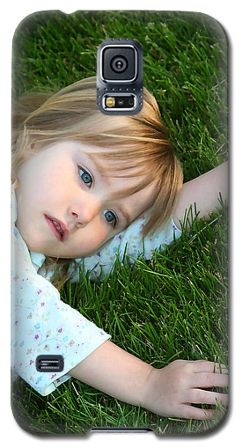 Girl Galaxy S5 Case featuring the photograph Lying In The Grass by Margie Wildblood