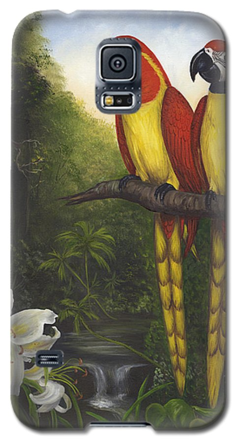 Landscape Galaxy S5 Case featuring the painting Macaws And Lillies by Anne Kushnick