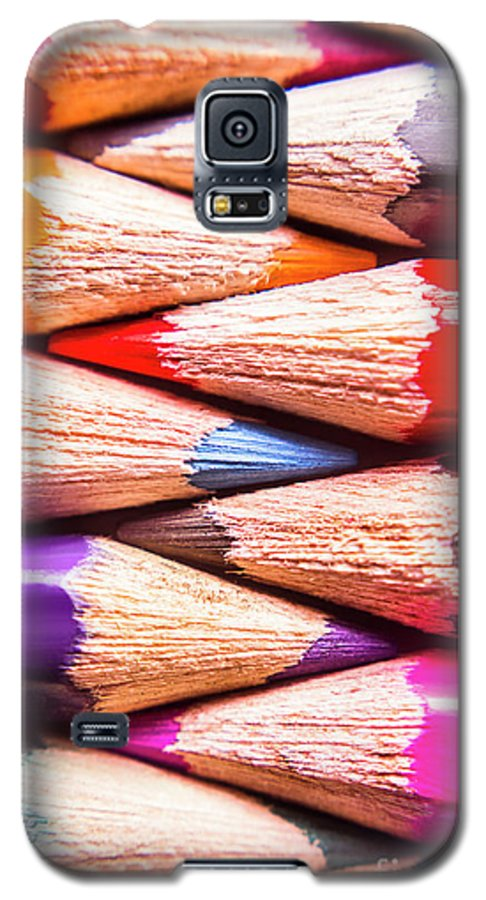 Pencil Galaxy S5 Case featuring the photograph Macro Coloured Pencil Crossover by Jorgo Photography - Wall Art Gallery