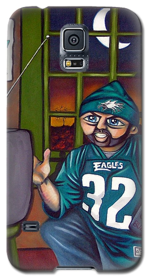 Philadelphia Galaxy S5 Case featuring the painting Mad Philly Fan In Texas by Elizabeth Lisy Figueroa