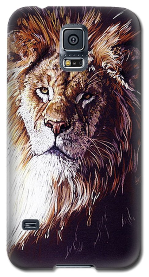 Lion Galaxy S5 Case featuring the drawing Maestro by Barbara Keith