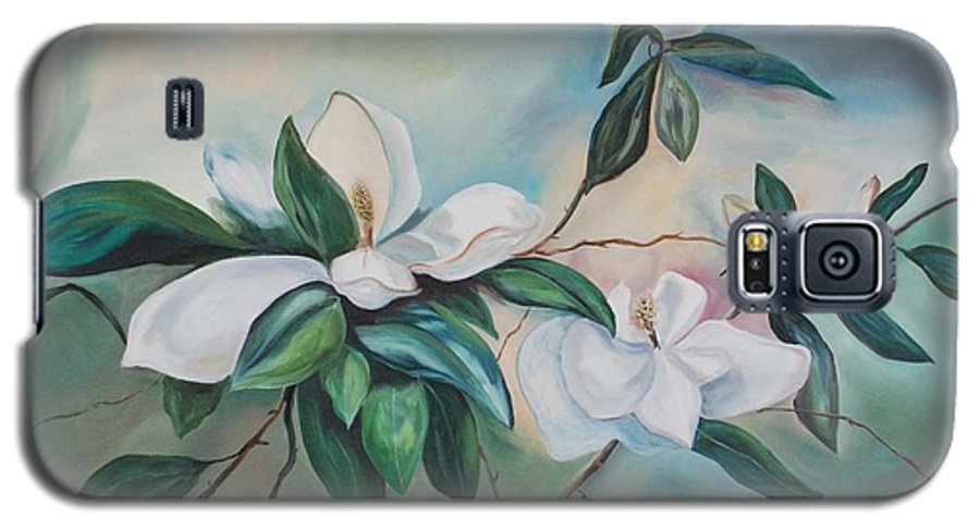 Flowers Galaxy S5 Case featuring the painting Magnolia Summer by Margaret Fortunato