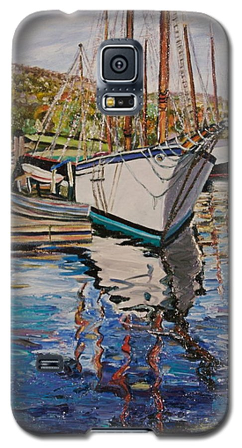 Maine Galaxy S5 Case featuring the painting Maine Coast Boat Reflections by Richard Nowak