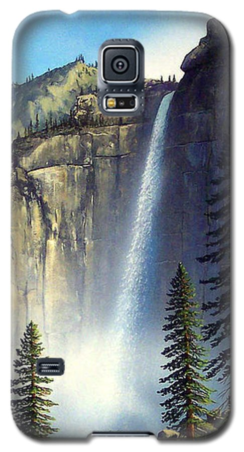 Landscape Galaxy S5 Case featuring the painting Majestic Falls by Frank Wilson