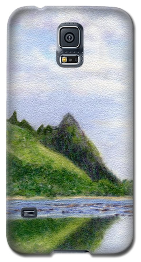 Rainbow Colors Pastel Galaxy S5 Case featuring the painting Makana Reflection by Kenneth Grzesik