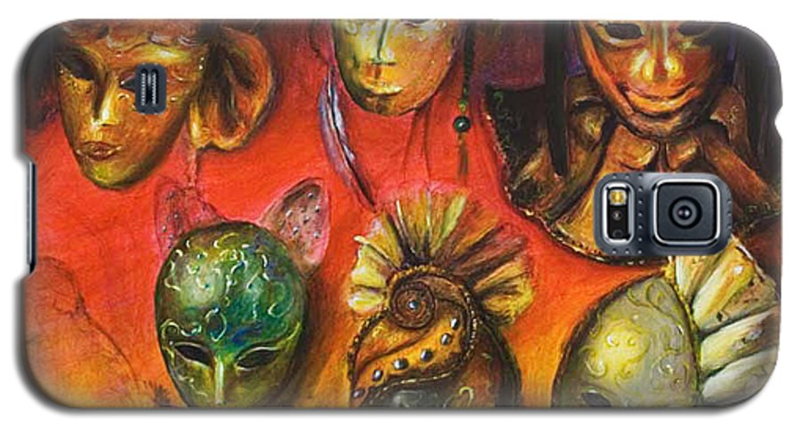 Masks Galaxy S5 Case featuring the painting Making Faces IIi by Nik Helbig