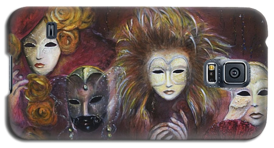 Masks Galaxy S5 Case featuring the painting Making Faces Vi by Nik Helbig