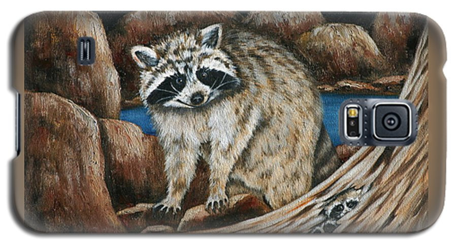 Racoon Galaxy S5 Case featuring the painting Mama Racoon by Ruth Bares