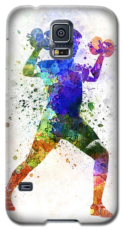 Body Galaxy S5 Case featuring the painting Man Exercising Weight Training by Pablo Romero