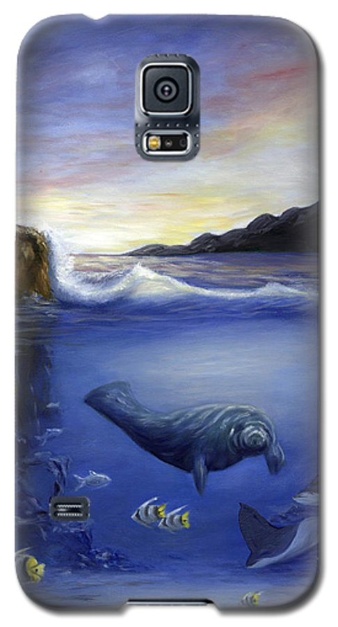 Seaworld Galaxy S5 Case featuring the painting Manatee by Anne Kushnick