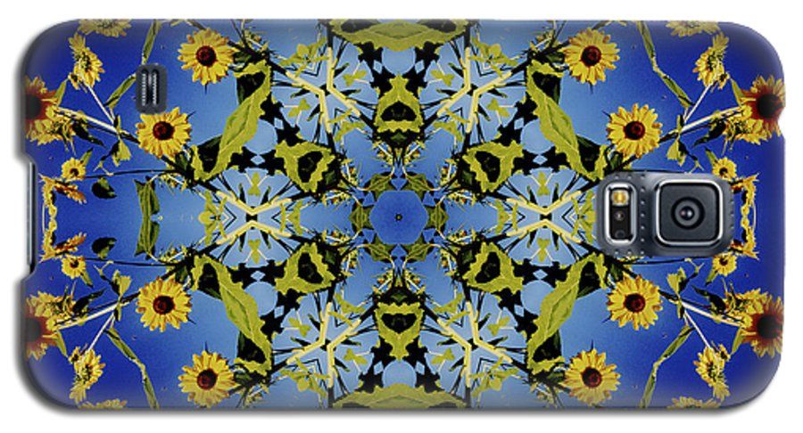 Mandala Galaxy S5 Case featuring the digital art Mandala Sunflower by Nancy Griswold