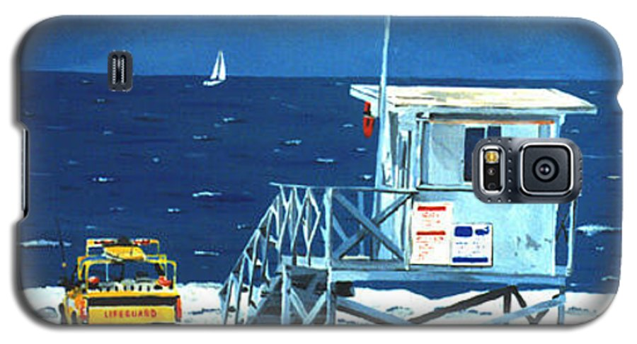Modern Galaxy S5 Case featuring the painting Manhattan Beach Lifeguard Station by Lance Headlee