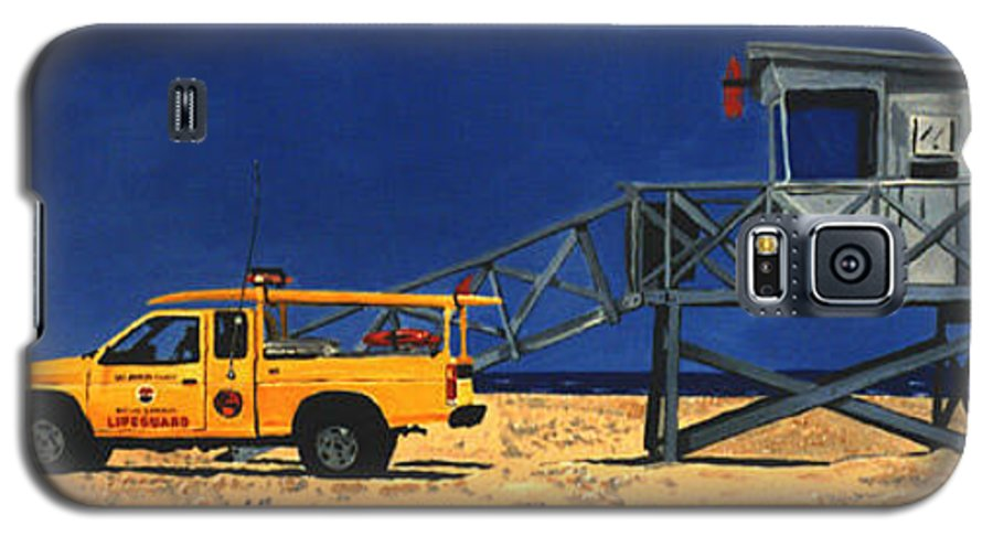 Modern Galaxy S5 Case featuring the painting Manhattan Beach Lifeguard Station Side by Lance Headlee