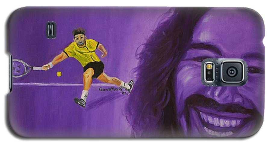 Marcos Galaxy S5 Case featuring the painting Marcos Baghdatis by Quwatha Valentine