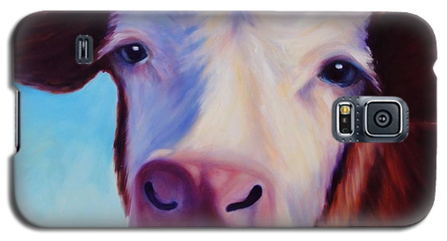 Cow Galaxy S5 Case featuring the painting Marie by Shannon Grissom