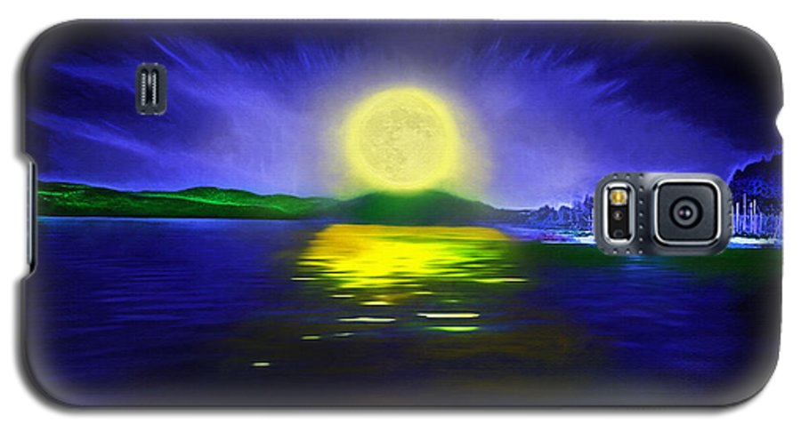Couer D' Alene; Idaho; Lakes; Water; Night; Nighttime; Moonlight; Moonlit; Full Moon Galaxy S5 Case featuring the photograph Marina Moonrise by Steve Ohlsen