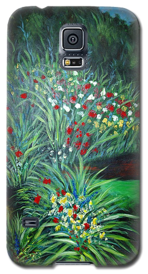 Landscape Galaxy S5 Case featuring the painting Maryann's Garden 3 by Nancy Mueller