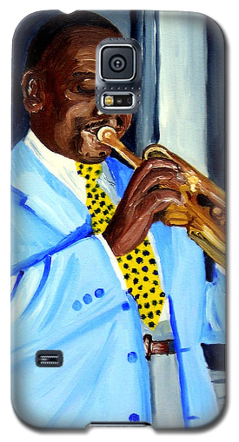 Street Musician Galaxy S5 Case featuring the painting Master Of Jazz by Michael Lee