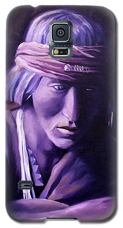 Native American Galaxy S5 Case featuring the painting Medicine Man by Nancy Griswold