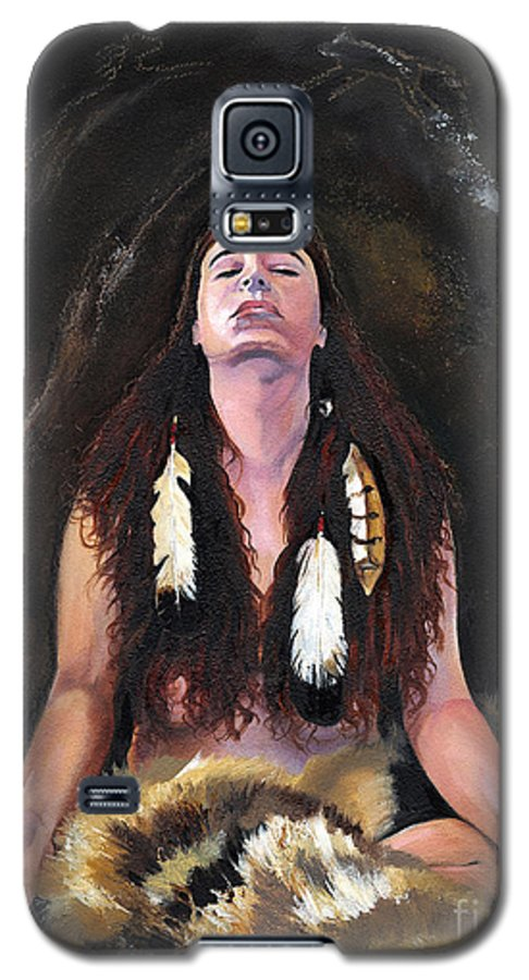 Southwest Art Galaxy S5 Case featuring the painting Medicine Woman by J W Baker