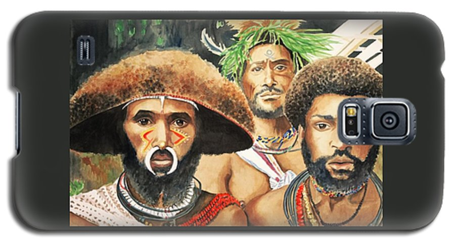 Men From New Guinea Galaxy S5 Case featuring the painting Men From New Guinea by Judy Swerlick