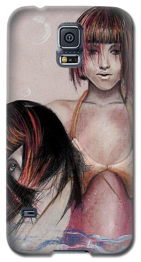 Mermaid Galaxy S5 Case featuring the drawing Mermaid Emerging by Maryn Crawford