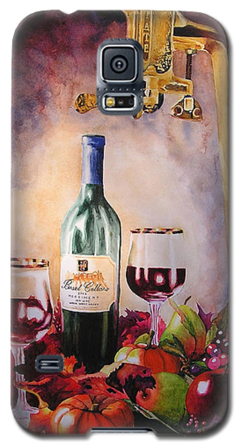 Wine Galaxy S5 Case featuring the painting Merriment by Karen Stark