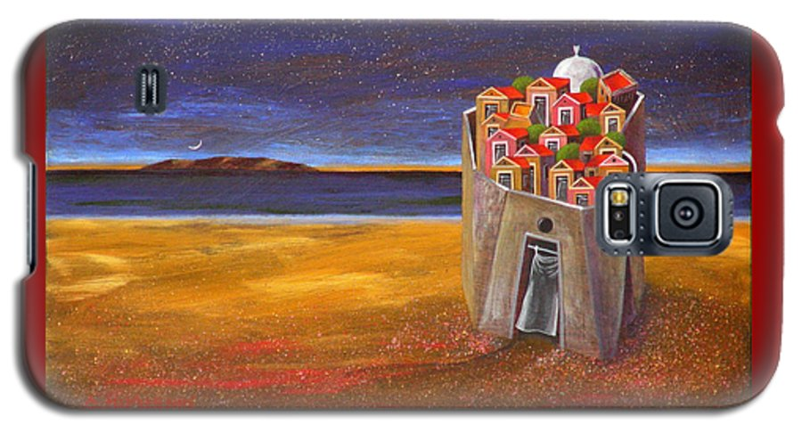Superrealism Galaxy S5 Case featuring the painting Mesi Castle Village by Dimitris Milionis