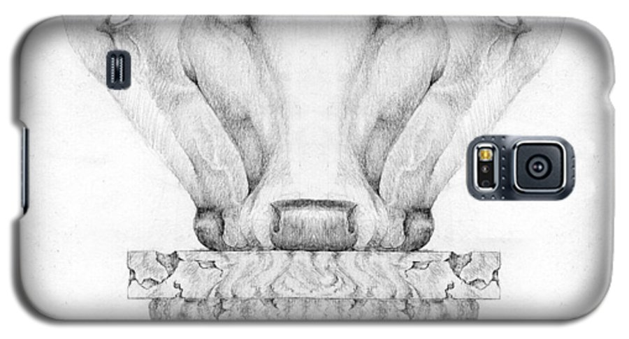 Bull Galaxy S5 Case featuring the drawing Mesopotamian Capital by Curtiss Shaffer