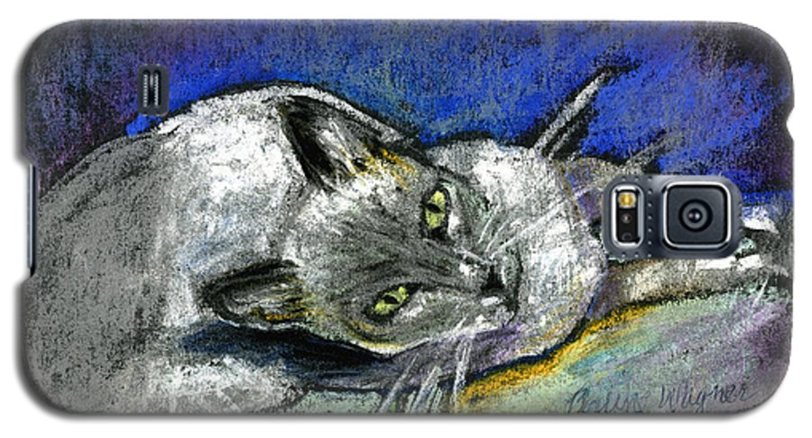 Cat Galaxy S5 Case featuring the pastel Michael Campbell by Arline Wagner