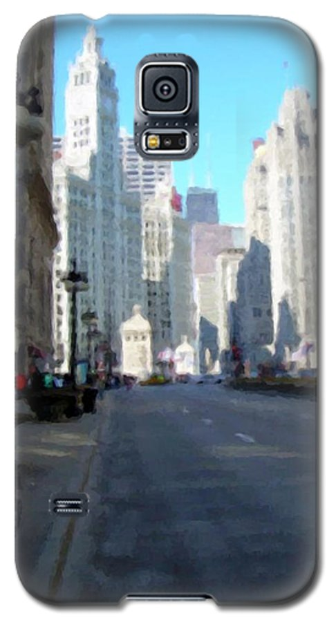 Chicago Galaxy S5 Case featuring the digital art Michigan Ave Tall by Anita Burgermeister