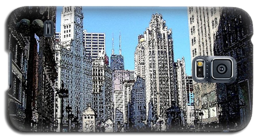 Chicago Galaxy S5 Case featuring the digital art Michigan Ave Wide by Anita Burgermeister